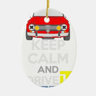 Keep Calm and Drive IT - cod. GiuliaTi Ceramic Oval Decoration