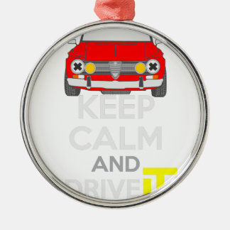 Keep Calm and Drive IT - cod. GiuliaTi Silver-Colored Round Decoration
