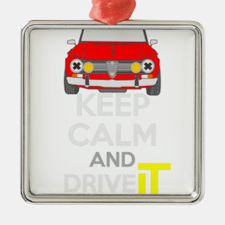Keep Calm and Drive IT - cod. GiuliaTi Silver-Colored Square Decoration