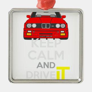 Keep Calm and Drive IT - cod. M3E30 Silver-Colored Square Decoration