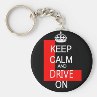 Keep Calm and drive on L plate Basic Round Button Key Ring