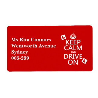 Keep Calm and Drive on (learner) (any color) Shipping Label