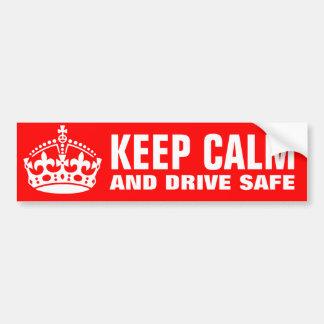 Keep calm and drive safe bumper sticker