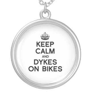 KEEP CALM AND DYKES ON BIKES - png Personalized Necklace