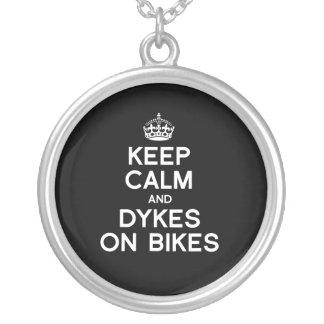 KEEP CALM AND DYKES ON BIKES - WHITE - png Jewelry