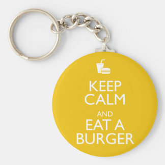 KEEP CALM AND EAT A BURGER BASIC ROUND BUTTON KEY RING