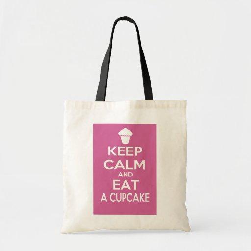 Keep Calm and Eat a Cupcake Canvas Bags