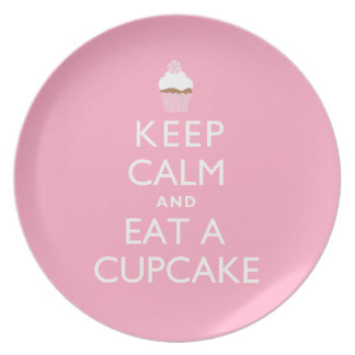 Keep Calm and Eat a Cupcake {pink} Plate