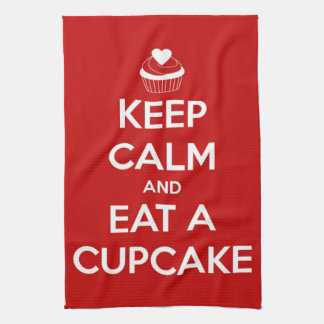Keep Calm and Eat A Cupcake Red Tea Towel