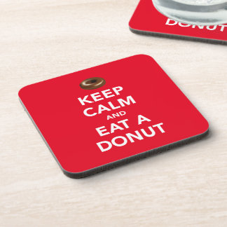 Keep calm and eat a donut coaster (customizable)