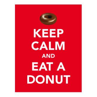 Keep calm and eat a donut postcard