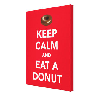 Keep calm and eat a donut wrapped canvas
