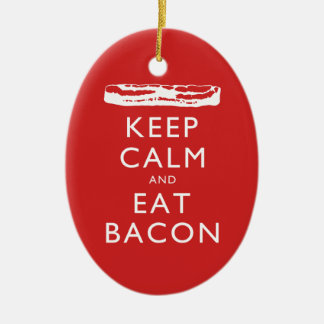 Keep Calm and Eat Bacon Ceramic Oval Decoration