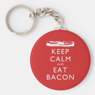 Keep Calm and Eat Bacon Basic Round Button Key Ring