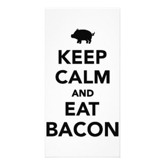 Keep calm and eat bacon customized photo card