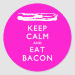 Keep Calm and Eat Bacon Round Sticker