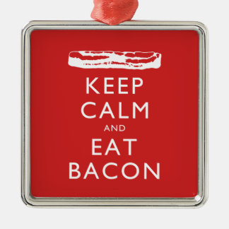 Keep Calm and Eat Bacon Silver-Colored Square Decoration