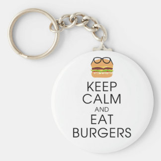 Keep Calm And Eat Burgers Basic Round Button Key Ring
