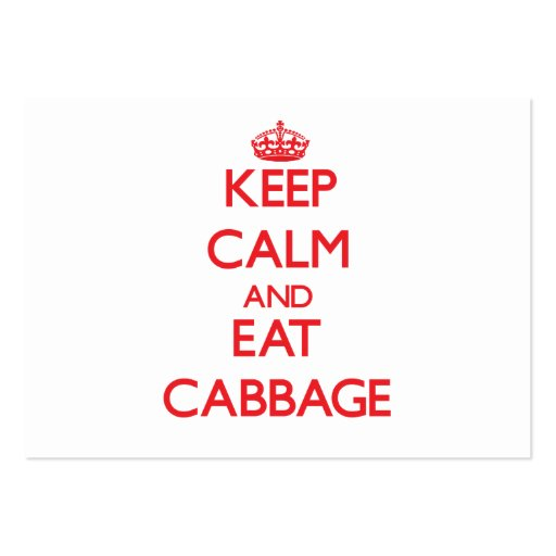 Keep calm and eat Cabbage Business Card Templates