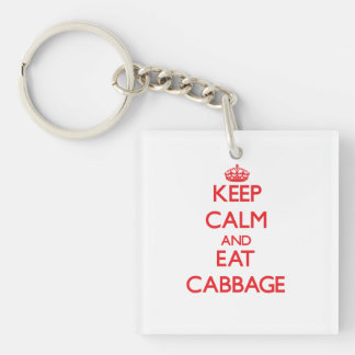 Keep calm and eat Cabbage Double-Sided Square Acrylic Keychain