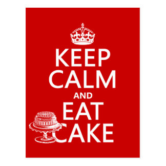 Keep Calm and Eat Cake customize colors Post Card