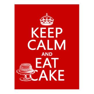 Keep Calm and Eat Cake (customize colors) Postcard