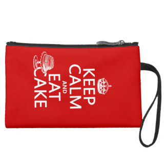 Keep Calm and Eat Cake Suede Wristlet