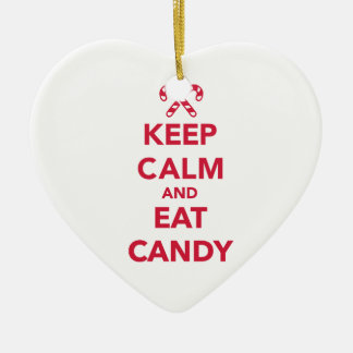 Keep calm and eat candy christmas ornament