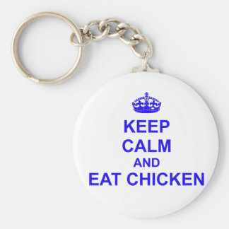 Keep Calm and Eat Chicken Basic Round Button Key Ring