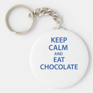 Keep Calm and Eat Chocolate Basic Round Button Key Ring