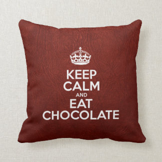Keep Calm and Eat Chocolate - Red Leather Cushion