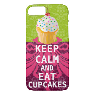 KEEP CALM AND Eat Cupcakes-change plum any color iPhone 7 Case