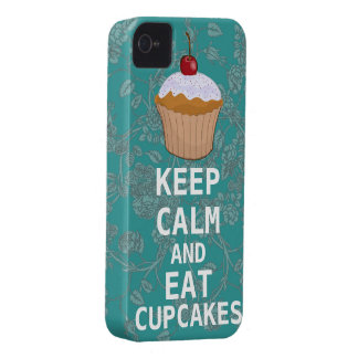 KEEP CALM AND Eat Cupcakes-change plum any colour iPhone 4 Cover