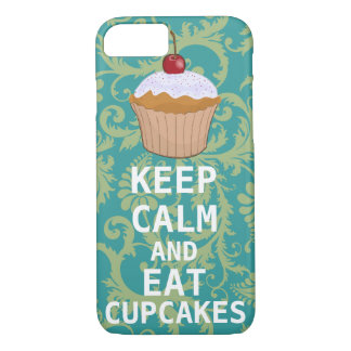 KEEP CALM AND Eat Cupcakes change teal any color iPhone 7 Case