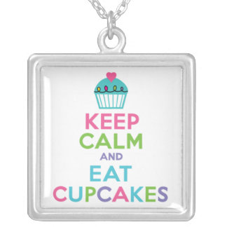 Keep Calm and Eat Cupcakes Square Pendant Necklace
