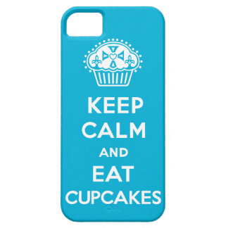 Keep Calm and Eat Cupcakes - solid blue iPhone 5 iPhone 5 Cases