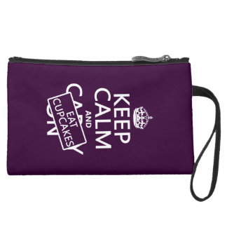 Keep Calm and Eat Cupcakes Suede Wristlet
