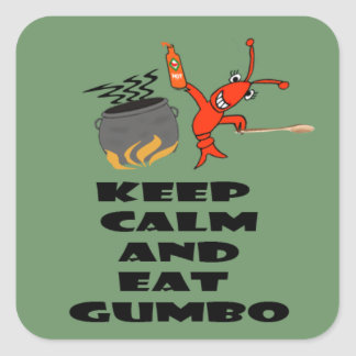 Keep Calm and Eat Gumbo Stickers (green)
