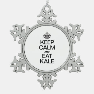 KEEP CALM AND EAT KALE SNOWFLAKE PEWTER CHRISTMAS ORNAMENT