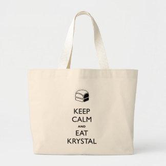 Keep Calm and Eat Krystal Large Tote Bag