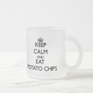 Keep calm and eat Potato Chips Frosted Glass Mug