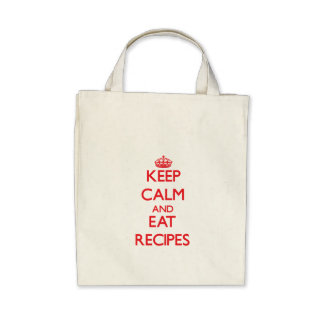 Keep calm and eat Recipes Tote Bags