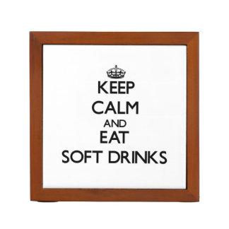 Keep calm and eat Soft Drinks Desk Organizer