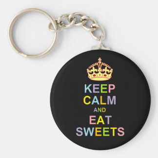 Keep Calm and Eat Sweets Basic Round Button Key Ring