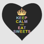 Keep Calm and Eat Sweets Heart Stickers