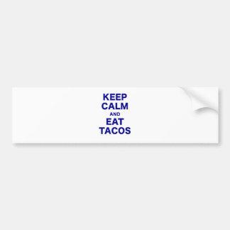 Keep Calm and Eat Tacos Car Bumper Sticker