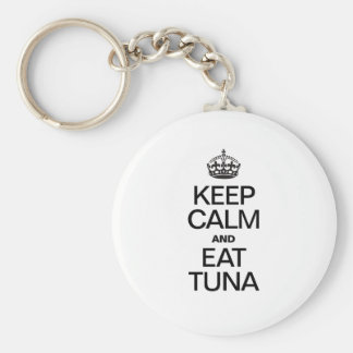 KEEP CALM AND EAT TUNA BASIC ROUND BUTTON KEY RING