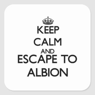 Keep calm and escape to Albion Illinois Square Stickers
