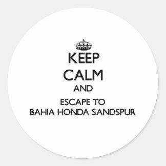 Keep calm and escape to Bahia Honda Sandspur Flori Round Stickers