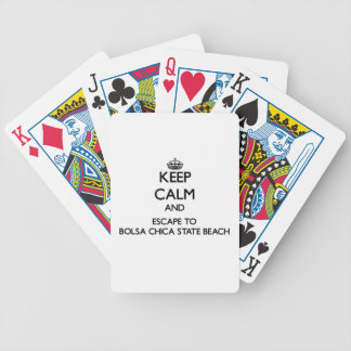Keep calm and escape to Bolsa Chica State Beach Ca Bicycle Poker Cards